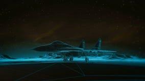 Samolot na pasie startowym w górach pozyskiwania ilustracyjny błyskawica nocne niebo Przemiany wireframe hologram photorealistic  Zdjęcia Stock