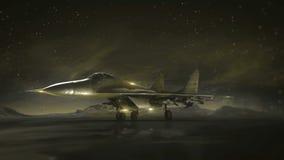 Samolot na pasie startowym w górach pozyskiwania ilustracyjny błyskawica nocne niebo Przemiany wireframe hologram photorealistic  Zdjęcie Stock
