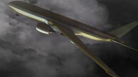 Samolot nad Cyfrowym Jeddah nad ciemnym niebem z błyskawicami zbiory