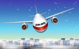 Samolot nad miasto ilustracji