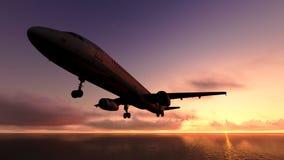 Samolot nad oceanem. Obraz Stock