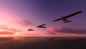 Samolot nad oceanem. Obrazy Stock