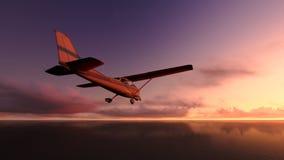 Samolot nad oceanem. Obrazy Royalty Free