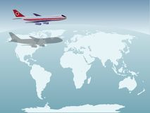 Samolot nad ziemia obrazy royalty free