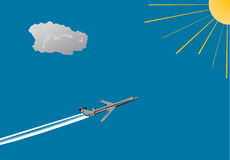 samolot niebieskiego nieba słońce ilustracji