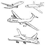 Samolot Ołówkowy nakreślenie ręką Obrazy Royalty Free