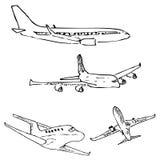 Samolot Ołówkowy nakreślenie ręką Zdjęcia Royalty Free