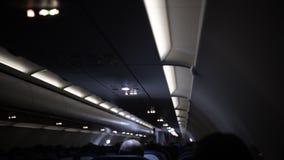 samolot Pasażer kabina samolot w nighttime zbiory