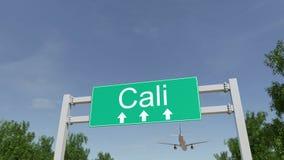 Samolot przyjeżdża Cal lotnisko Podróżować Kolumbia konceptualny 3D rendering Zdjęcie Stock