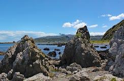 Samolot robi mię jest definitywnym podejściem Wellington lotnisko nad niewygładzonym wybrzeżem Kucbarskie cieśniny zdjęcia royalty free