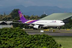 Samolot Thai Airways International Aerobus A330 obrazy royalty free