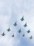 Samolot Tig-29 i Sukhoi latający systemy Obraz Stock