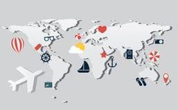 Samolot trasy na światowej mapie z podróżnymi ikonami Zdjęcia Stock