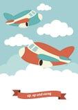 Samolot w chmurach ilustracja wektor