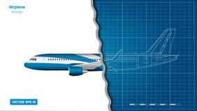 Samolot w konturu stylu Projekt cywilny samolot Boczny widok samolot Przemys?owy 3d rysunek D?etowy silnik ilustracji