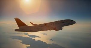Samolot w locie nad morzem Obraz Royalty Free
