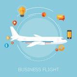 Samolot w niebieskim niebie Biznesowy lot Ilustracja Wektor