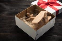 Samolot w prezenta pudełku Zdjęcie Stock