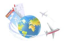 Samolot wokoło kuli ziemskiej royalty ilustracja