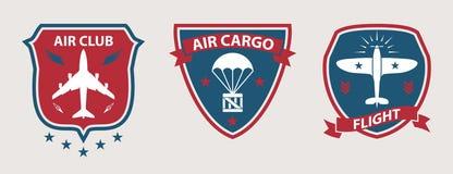Samolot wycieczki turysyczne i lotnictwo odznaki Obraz Stock