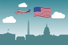 Samolot z flaga Stany Zjednoczone Ameryka Fotografia Royalty Free