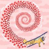 Samolot z sercami Obraz Royalty Free