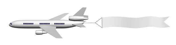Samolot z sztandarem Fotografia Stock