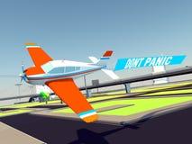 Samolot z sztandarem Obraz Royalty Free