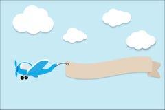 Samolot z sztandarem również zwrócić corel ilustracji wektora Fotografia Royalty Free