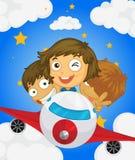 Samolot z trzy dzieciakami ilustracja wektor