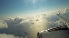 Samolot zdejmował od Heraklion lotniska na Crete wyspie w Grecja zdjęcie wideo