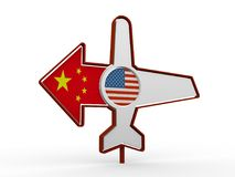 Samolotowa ikony i miejsca przeznaczenia strzała Zdjęcia Royalty Free