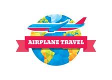 Samolotowa podróż - wektorowa pojęcie ilustracja Abstrakcjonistyczna kula ziemska, faborek i samolot, Obrazy Royalty Free