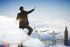 samolotowa tła pojęcia kuli ziemskiej ilustracja odizolowywająca surranded target771_0_ biel Zdjęcia Royalty Free