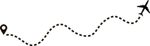 Samolotowa trasa w kropkowanym kreskowym kształcie ilustracji