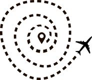 Samolotowa trasa w kropkowanym kreskowym kształcie royalty ilustracja
