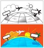Samolotowa wycieczka, wakacje, wakacje Zdjęcia Stock