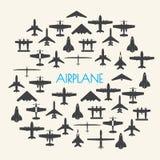 Samolotowe ikony ustawiają tło Fotografia Royalty Free