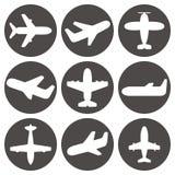 Samolotowe ikony wektorowe Fotografia Royalty Free