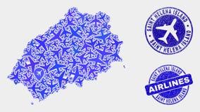 Samolotowego kolażu Helena wyspy Grunge i mapy Wektorowe Świątobliwe foki ilustracji