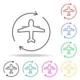 Samolotowej okrąg strzała barwione ikony Element szyć wielo- barwioną ikonę dla mobilnych pojęcia i sieci apps Cienieje kreskową  ilustracji
