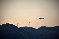 Samolotowi pojęcie energii silniki wiatrowi Zdjęcia Royalty Free