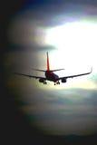 Samolotowy lądowanie przy lotniskiem Obraz Stock