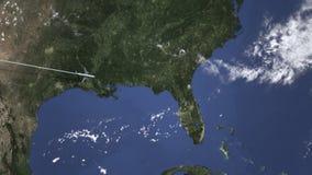 Samolotowy latanie Jacksonville, Stany Zjednoczone od zachodniej wstępu 3D animacji royalty ilustracja