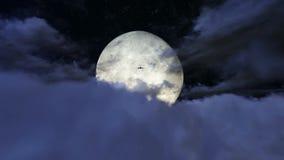Samolotowy latanie nad chmurami w księżyc w pełni materiale filmowym ilustracja wektor