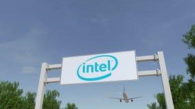 Samolotowy latanie nad reklamowym billboardem z Intel Corporation logem Redakcyjny 3D rendering Zdjęcia Royalty Free