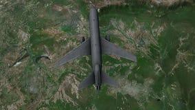 Samolotowy latanie w wodnego atomu kształt od above zbiory wideo