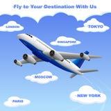 Samolotowy podróżowanie twój miejsce przeznaczenia Obrazy Royalty Free