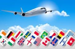 Samolotowy podróży tło z flaga różni kraje Zdjęcia Stock