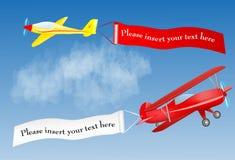 Samolotowy sztandar z miejscem dla twój teksta Zdjęcia Stock